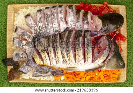 catfish and carp on vegetables