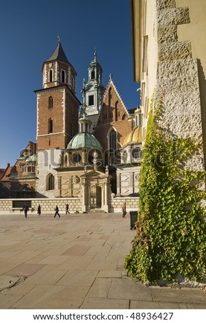 Cathedral and castle Wawel in Krakow on a beautiful day - stock photo