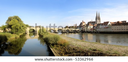 Cathedral and river Danube in Regensburg, Germany - stock photo