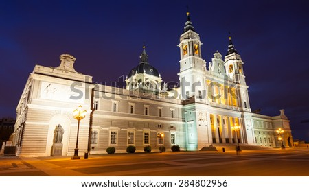 cathedral at Madrid in night. Spain