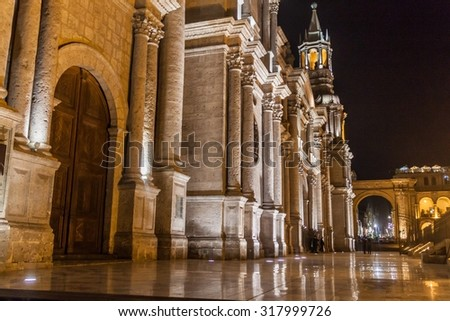 Cathedral at Plaza de Armas square in Arequipa, Peru.