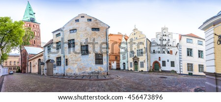 Cathedral Basilica of St. James and Three Brothers Houses in Riga old town, Latvia. Panoramic montage from 18 HDR images - stock photo