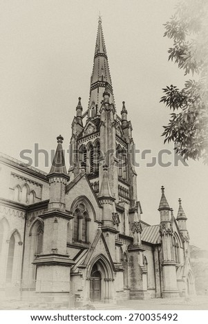 Cathedral Church of St. James in Toronto, Ontario, Canada. Cathedral is home of oldest congregation in city, parish was established in 1797. Antique vintage. - stock photo