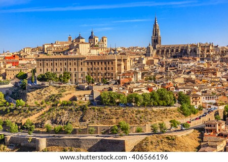 Cathedral Churches Medieval City Toledo Spain.  Cathedral started in 1226 finished 1493 - stock photo