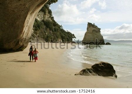 Cathedral Cove, New Zealand. - stock photo