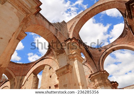 Cathedral de Santiago is a Roman Catholic church in Antigua Guatemala. The original church was built around 1541, but was demolished by earthquake in 1669. The cathedral has been partly rebuilt  - stock photo