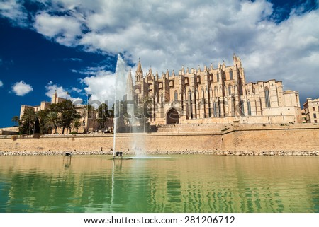 Cathedral designed in the French Gothic style, Palma de Mallorca, Spain - stock photo