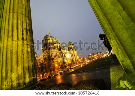 Cathedral in Berlin, Germany, Long exposure night time shot. - stock photo