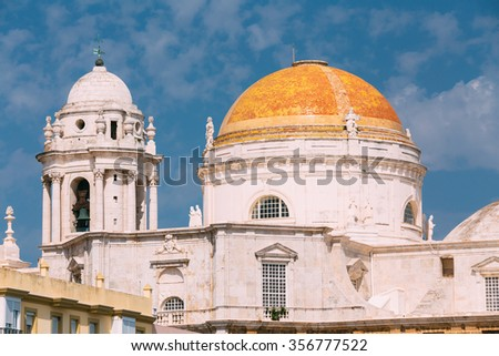 Cathedral in Cadiz, Spain. Sunny day. It was built between 1722 and 1838.