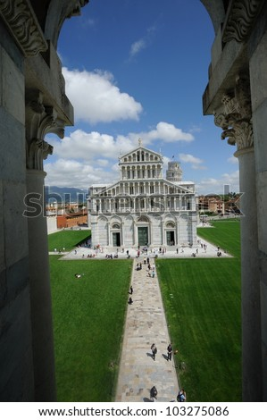 Cathedral in campo dei miracoli in Pisa (Italy) - stock photo