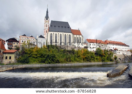 Cathedral in Czech  Krumlov - stock photo