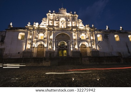 Cathedral in downtown Antigua, Guatemala - stock photo