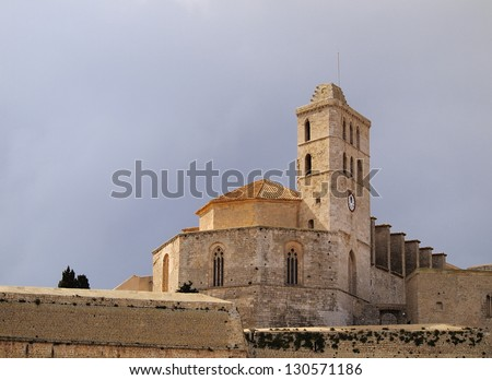 Cathedral in Ibiza Town, Balearic Islands, Spain
