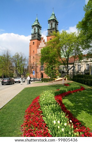 cathedral in Poznan, Poland - stock photo