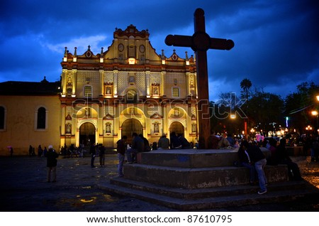 Cathedral in San Cristobal, Mexico at night - stock photo