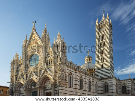 cathedral in sun lights in Siena in Tuscany in Italy - stock photo