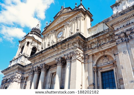 Cathedral in the center of Guatemala City, Guatemala. - stock photo