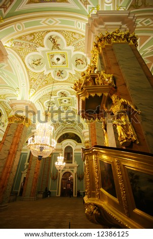 Cathedral in the Peter and Paul Fortress, St Petersburg, Petropavlovsk, view from inside - stock photo