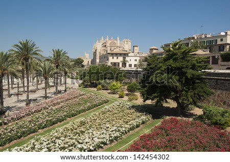 Cathedral La Seu in Palma de Mallorca - stock photo
