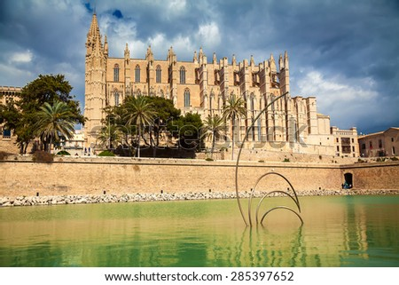 Cathedral La Seu in the historical centre of Palma de Mallorca, Spain - stock photo