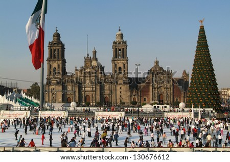 cathedral Metropolitana on Zocalo at Mexico City - stock photo