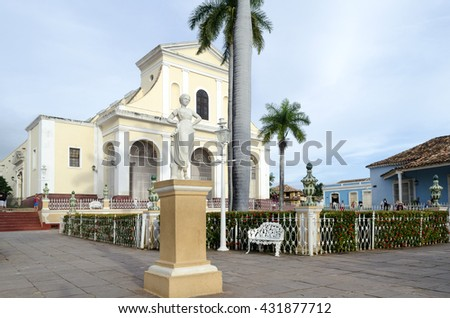 Cathedral near the central square in Trinidad, Cuba. City of Trinidad is a UNESCO World Heritage Site. - stock photo