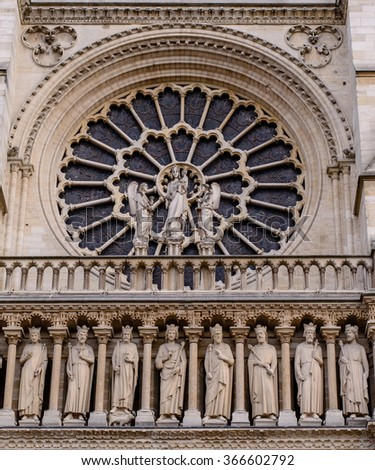 Cathedral Notre-Dame de Paris - Built in French Gothic architecture, and it is among most well-known church buildings in the world  - stock photo