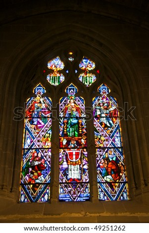 Cathedral Notre-Dame interior,  Lausanne, Switzerland - stock photo
