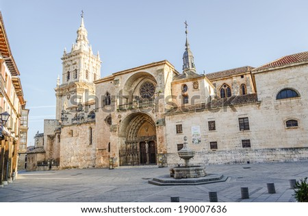 Cathedral of Burgo de Osma, Soria, Spain. It is a Gothic temple built on an area previously occupied by a Romanesque Church. The building started in 1232 and was completed in 1784 - stock photo