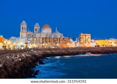 Cathedral of Cadiz. Quay. Andalusia, Spain - stock photo