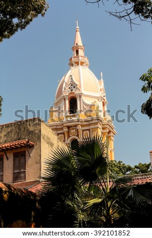 Cathedral of Cartagena de Indias from the palace of the Inquisition, Caribbean, Colombia - stock photo