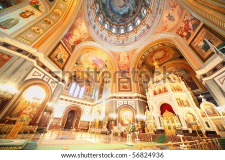 Cathedral of Christ the Saviour. fresco on ceiling and walls. - stock photo
