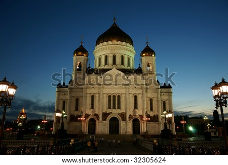 Cathedral of Christ the Saviour-It is photographed at night in Russia