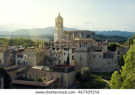 Cathedral of Girona. Evening landscape. Catalonia, Spain.