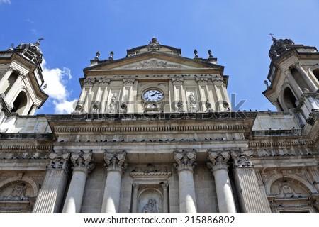 Cathedral of Guatemala City - Catedral Primada Metropolitana de Santiago. Antigua, Guatemala. - stock photo