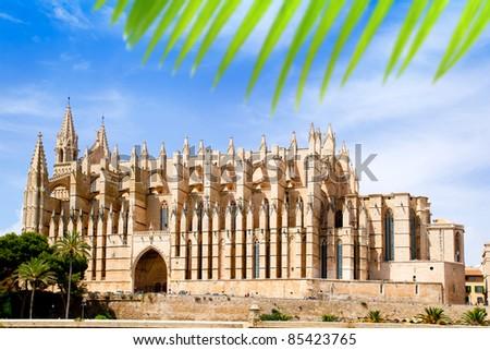 Cathedral of Majorca  La seu from Palma de Mallorca in Balearic Island Spain - stock photo