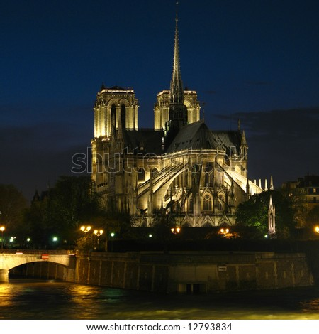 Cathedral of Notre-Dame at night 02, Paris, France - stock photo