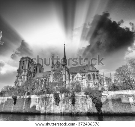 Cathedral of Notre Dame in Black and White, Paris.