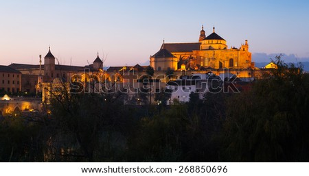 Cathedral of Our Lady of the Assumption and Roman bridge in evening. Cordoba, Spain - stock photo