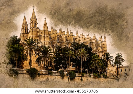 Cathedral of Palma de Mallorca viewed through lush greenery of the island. Vintage painting, background illustration, beautiful picture, travel texture - stock photo