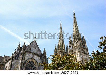 Cathedral of Quimper. Brittany, France. - stock photo