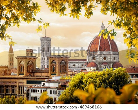 Cathedral of Saint Mary of the Flower in Florence in autumn, Italy