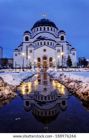 Cathedral of Saint Sava at evening, Belgrade, Serbia  - stock photo