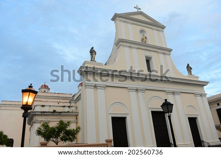 Cathedral of San Juan Bautista is a Roman Catholic cathedral in Old San Juan, Puerto Rico. This church is built in 1521 and is the oldest church in the United States. - stock photo