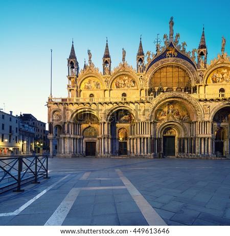 Cathedral of San Marco, Venice, Italy, illuminated at night - stock photo