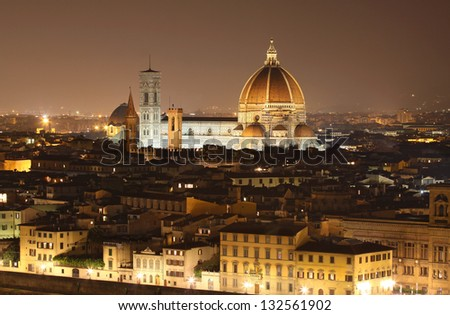 Cathedral of Santa Maria del Fiore (Duomo) at night, Florence, Italy
