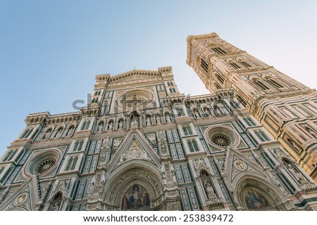 Cathedral of Santa Maria del Fiore - Florence Cathedral, the most famous of the Florentine Quattrocento architectural structures. Located in the city center, on the cathedral square. - stock photo