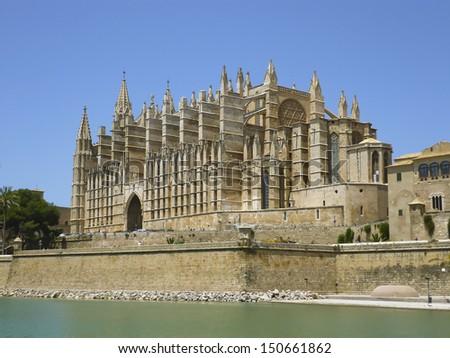 Cathedral of Santa Maria of Palma, or La Seu, a Gothic Roman Catholic cathedral located in Palma, Majorca, Spain - stock photo