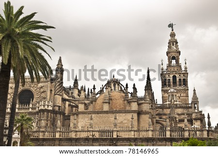 Cathedral of Seville, Spain, and the tower La giralda - stock photo