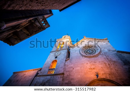 Cathedral of St Mark in Korcula town - stock photo
